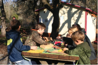 students drawing in garden