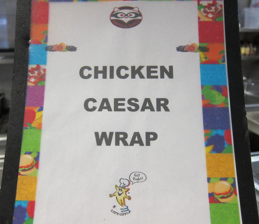 chicken caesar wrap label